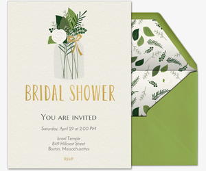 Delightful Green Bridal Shower Invitation  Free Bridal Shower Invitations Templates