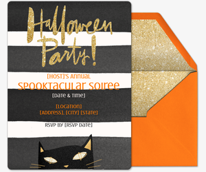 Halloween Cat Invite Invitation