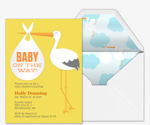 Baby on the Way Stork Invitation