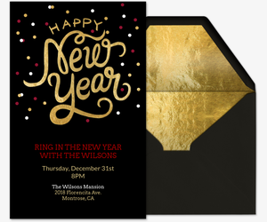 New years eve party invitations evite happy new year gold invitation stopboris Images