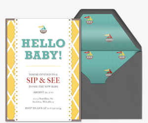 Preppy Hello Baby Invitation