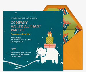 Winter White Elephant Invitation