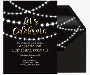 Professional event and office party online invitations evite string lights invite invitation stopboris