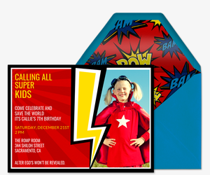 Calling All Superkids Invitation