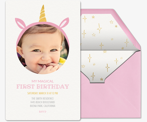 First Birthday Crown Unicorn Invitation