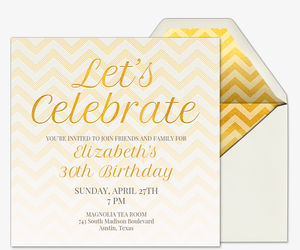 Free online wedding anniversary invitation wrsvp tracker evite golden chevron invitation stopboris Gallery