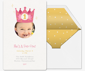 First Birthday Crown Invitation