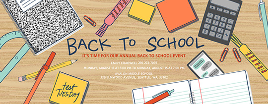 Back to School Supplies Invitation