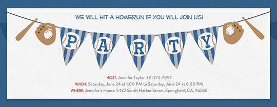 Baseball Bunting Invitation