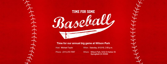 Baseball Red Invitation