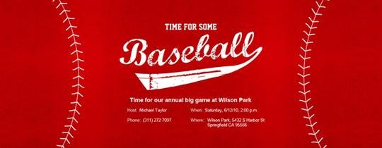 Baseball Red Invitation