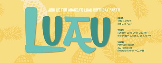 Beach Tropical Luau Invitation