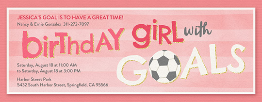Birthday Girl Soccer Goals Invitation