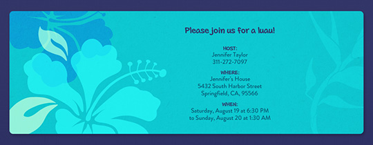Blue Hawaii Invitation