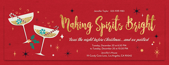 Free. Get Together Christmas. Bright Spirits Invitation  Free Xmas Invitations