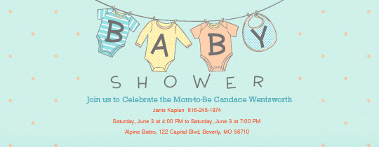 Clothes Line Invitation  How To Word Baby Shower Invitations