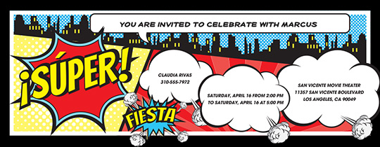 Comic Party Invitation
