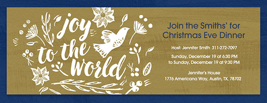 Dove Joy to the World Invitation