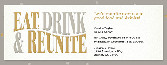 Eat Drink Reunite Invitation