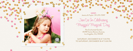 Free kids birthday invitations online invites for children festive gold confetti pink invitation filmwisefo Images