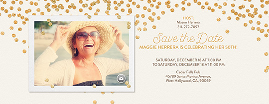 Festive Gold Confetti White Save the Date Invitation
