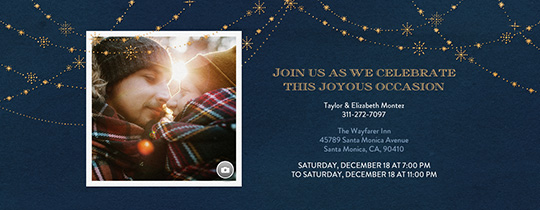 Festive Gold Stars Blue Invitation