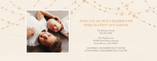 Festive Gold Star Ivory Invitation