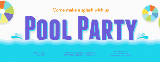 Pool party BBQs Beach 4th of July invitations – Free Kids Party Invitations to Print