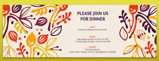Floral Fall Invitation · Free  Dinner Invitation Templates Free