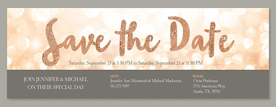 Save the date invitations and cards evite glitter save the date invitation free pronofoot35fo Images