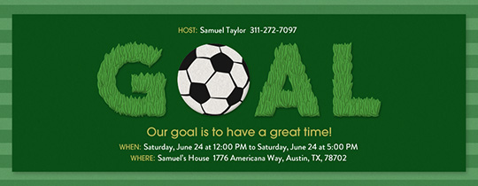 Soccer Goal Grass Invitation