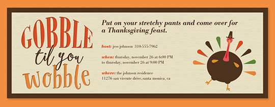 Evite free online thanksgiving dinner invitations gobble wobble invitation stopboris Gallery