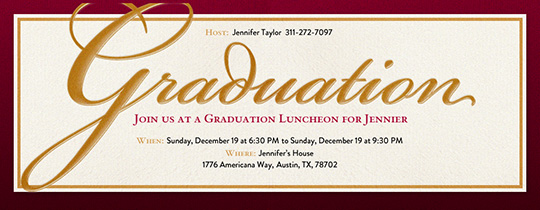 Graduation Maroon Invites Invitation