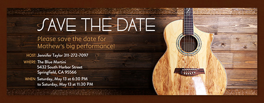 Guitar Save the Date Invitation