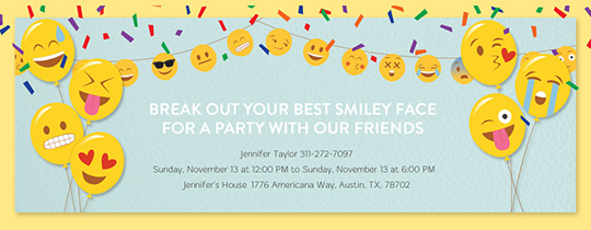 Emoji Happy Balloons Invitation