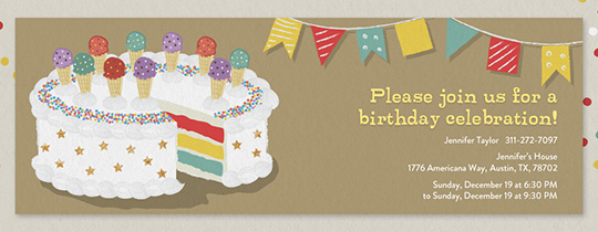 Invitations free ecards and party planning ideas from evite happy birthday cake invitation filmwisefo
