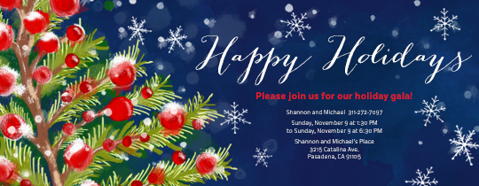 Happy Holiday Tree Invitation