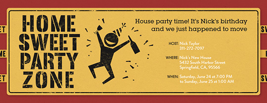 Home Sweet Party Zone Invitation