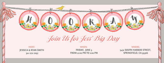 Hooray Banner Invitation
