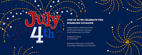 July Fourth Fireworks Invitation