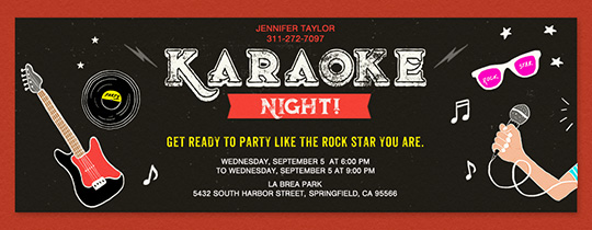 Invitations free ecards and party planning ideas from evite karaoke night invitation stopboris Choice Image