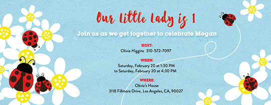Invitations Free eCards and Party Planning Ideas from Evite – Ladybug Invitations 1st Birthday