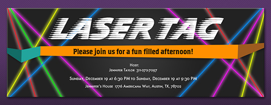 image regarding Laser Tag Birthday Invitations Free Printable identified as Free of charge Birthday Invites - Ship On the net or through Phrases - Evite