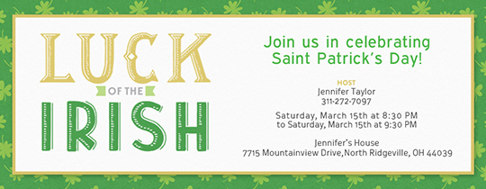 Luck of Irish Invitation