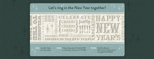 New Year's Cheers Invitation
