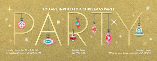 Party Ornaments Invitation  Free Xmas Invitations
