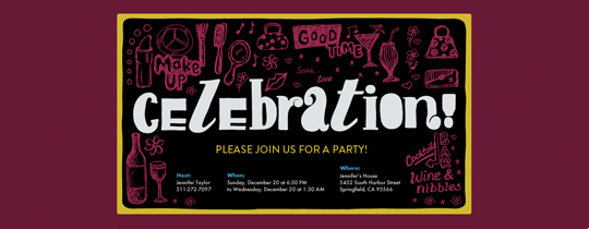 Pink Doodles Invitation