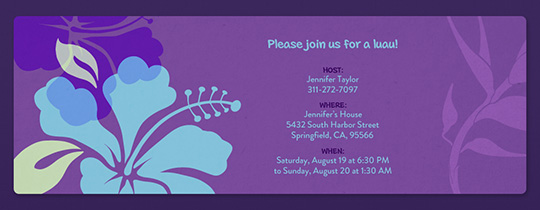 Purple Hawaii Invitation