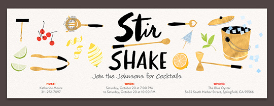 Stir and Shake Invitation