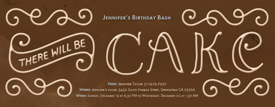 There Will Be Cake Invitation